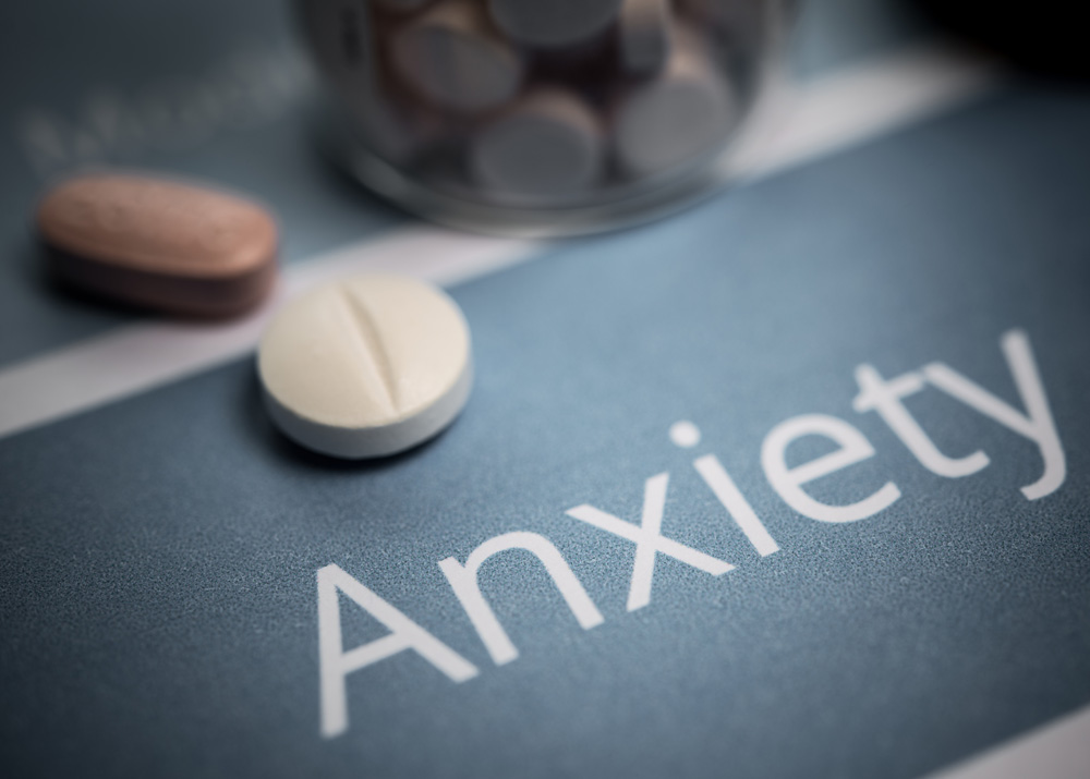 Anxiety disorders pill on a cardboard