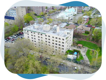 Aerial view of Fairview rehab & nursing home building