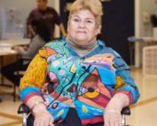 Geraldine Saver, Fairview Patient sitting on wheel chair.