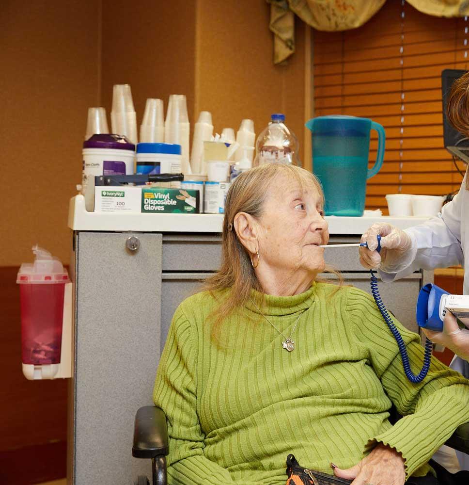 Senior women getting short-term rehab