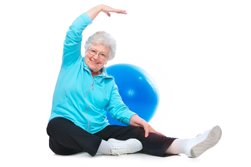 elderly woman doing exercise to avoid arthritis and joints problems.