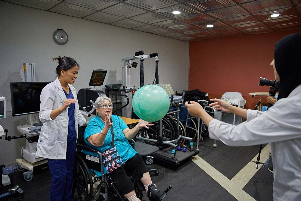 Elderly woman getting part in Cardiac Rehab Exercise Program at Fairview Rehab